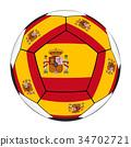 Soccer ball with Spanish flag 34702721