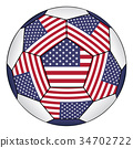 Soccer ball with United States flag 34702722
