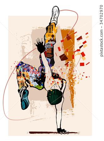 Hip hop dancer on grunge background 34702970
