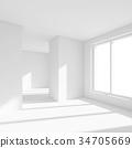 White Empty Room with Window 34705669