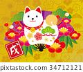 新年贺卡材料 狗 狗狗 34712121