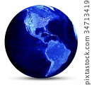 Earth blue map 3d rendering 34713419