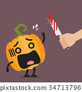 Hand with a knife prepare to cut the funny pumpkin 34713796