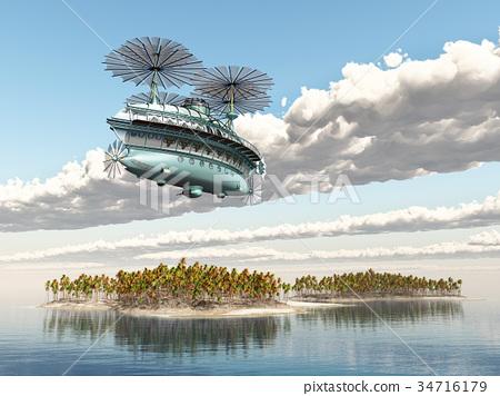 Fantasy airship over an ocean landscape 34716179