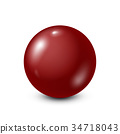 Dark red lottery, billiard,pool ball. Snooker 34718043