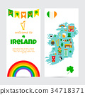 Background template with tourist map of Ireland 34718371