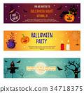 Set of Halloween banners with Halloween characters 34718375