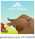 Farm animal and Rural landscape with cow 34718400