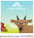 Farm animal and Rural landscape with goat 34718402