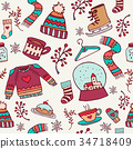 Cute christmas holiday doodle seamless pattern 34718409
