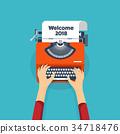 flat, writer, typewriter 34718476