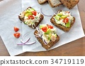 open sandwich, food, cooked 34719119