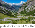 View of serpentine road, Stelvio Pass from Bormio 34719167