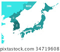 Political map of Korean and Japanese region, South 34719608