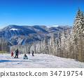 Pine on a mountain slope.Beautiful blue sky. 34719754