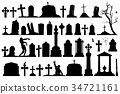 Gravestones and tombstones set 34721161