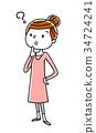젊은 여성 : 의문 34724241