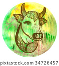 Watercolor badge with cow Vegan style illustration 34726457