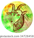 Watercolor badge with goat Vegan illustration 34726458
