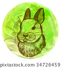 Watercolor badge with rabbit Vegan illustration 34726459