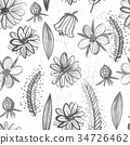 Watercolor seamless pattern with flowers and grass 34726462