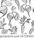 Watercolor seamless pattern with beets and carrots 34726463