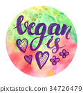 Watercolor poster with lettering Vegan is love 34726479