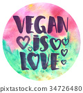 Watercolor poster with lettering Vegan is love 34726480