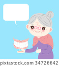 old woman with denture 34726642