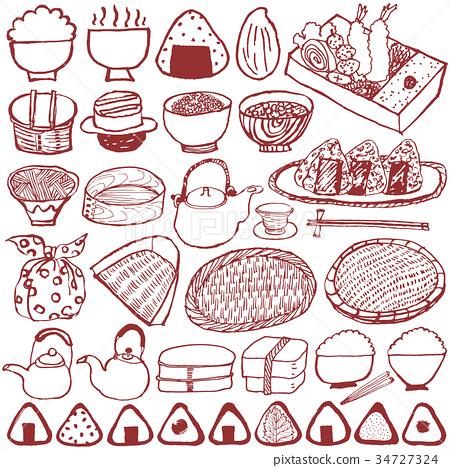 午餐盒飯糰日本料理 34727324
