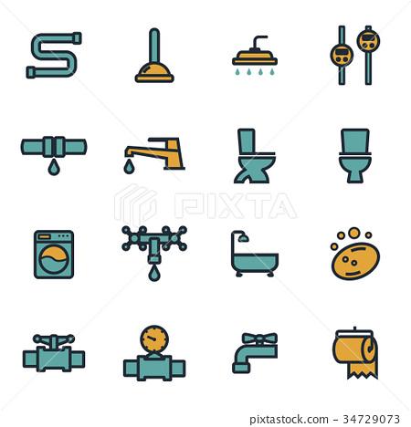 Vector flat plumbing icons set 34729073