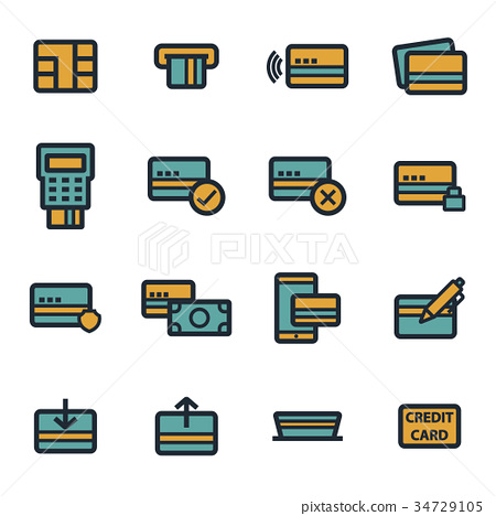 Vector flat credit card icons set - Stock Illustration