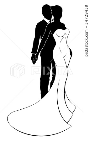 Bride and Groom Couple Wedding Silhouette 34729439