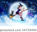 Witch and Full Moon Halloween Scene 34729494