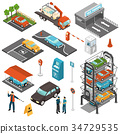 Isometric Car Parking Icon Set 34729535