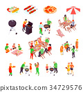 Family Barbecue Picnic Isometric Icons 34729576