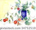 水彩 水彩画 花瓶 34732510