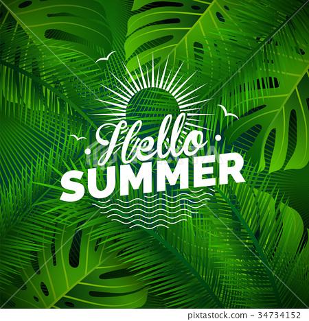Vector Hello Summer typographic illustration 34734152