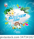 Vector Hello Summer Holiday illustration 34734162