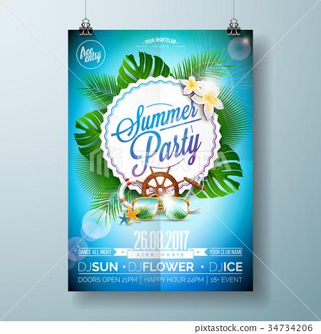 Vector Summer Beach Party Flyer Design 34734206