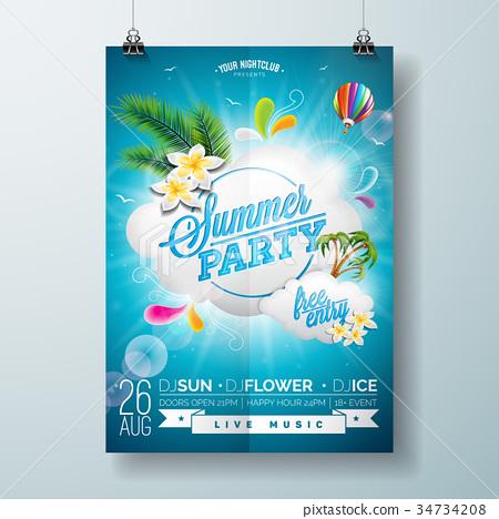 Vector Summer Beach Party Flyer Design 34734208