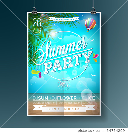 Vector Summer Beach Party Flyer Design 34734209