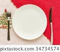 접시 수저 나이프 포크 크리스마스 컬러 34734574