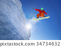 Snowboarder jumping against blue sky 34734632