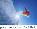 Snowboarder jumping against blue sky 34734633