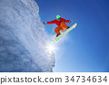 Snowboarder jumping against blue sky 34734634