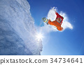 Snowboarder jumping against blue sky 34734641