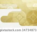 日本纸 - 日本模式 - 日式 - 背景 - 镀金 - 现代 34734873