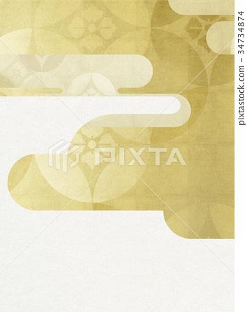 日本纸 - 日本模式 - 日式 - 背景 - 镀金 - 现代 34734874