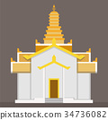 Flat gold Thai temple vector 34736082